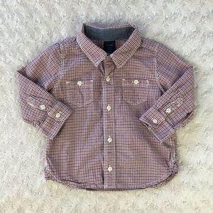Baby Gap Red Plaid Button Down Shirt 6-12 Months